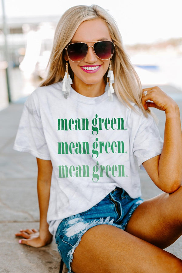 "North Texas Mean Green ""Sweet Repeat"" Watercolor Spin-Dye Top"