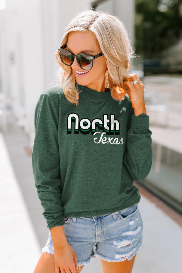 "North Texas Mean Green ""Throwback Varsity Vibes"" Crewneck Long-Sleeved Top"