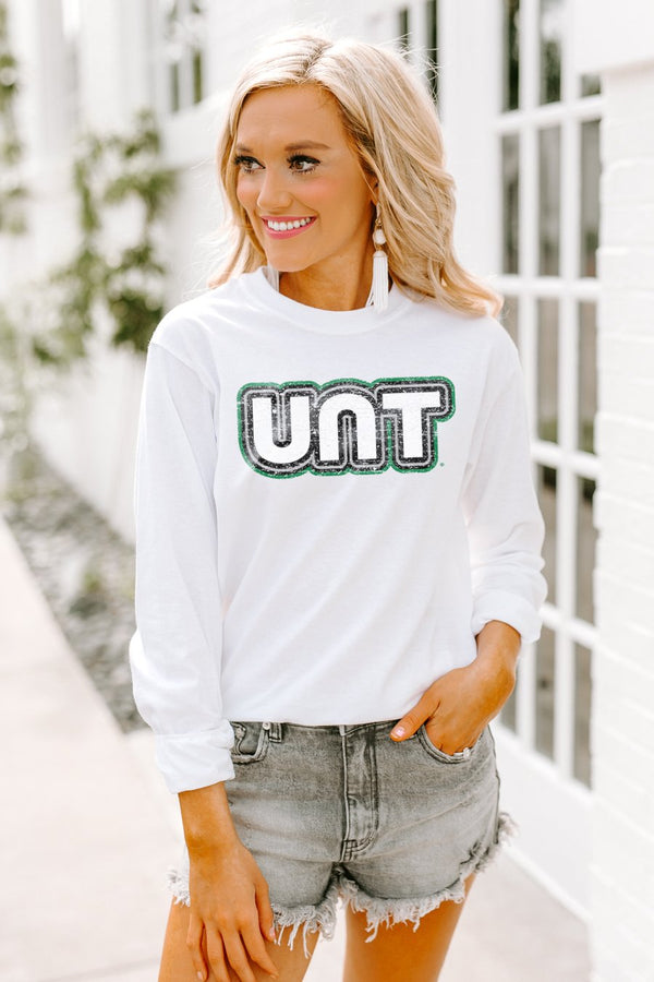 "North Texas Mean Green ""It's a Win"" Crewneck Long-Sleeved Top"