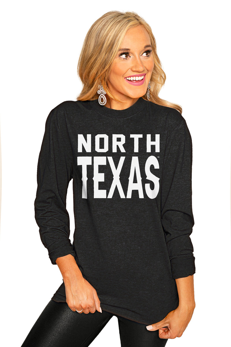 "NORTH TEXAS MEAN GREEN ""GO FOR IT"" Luxe Boyfriend Crew Tee - Gameday Couture"