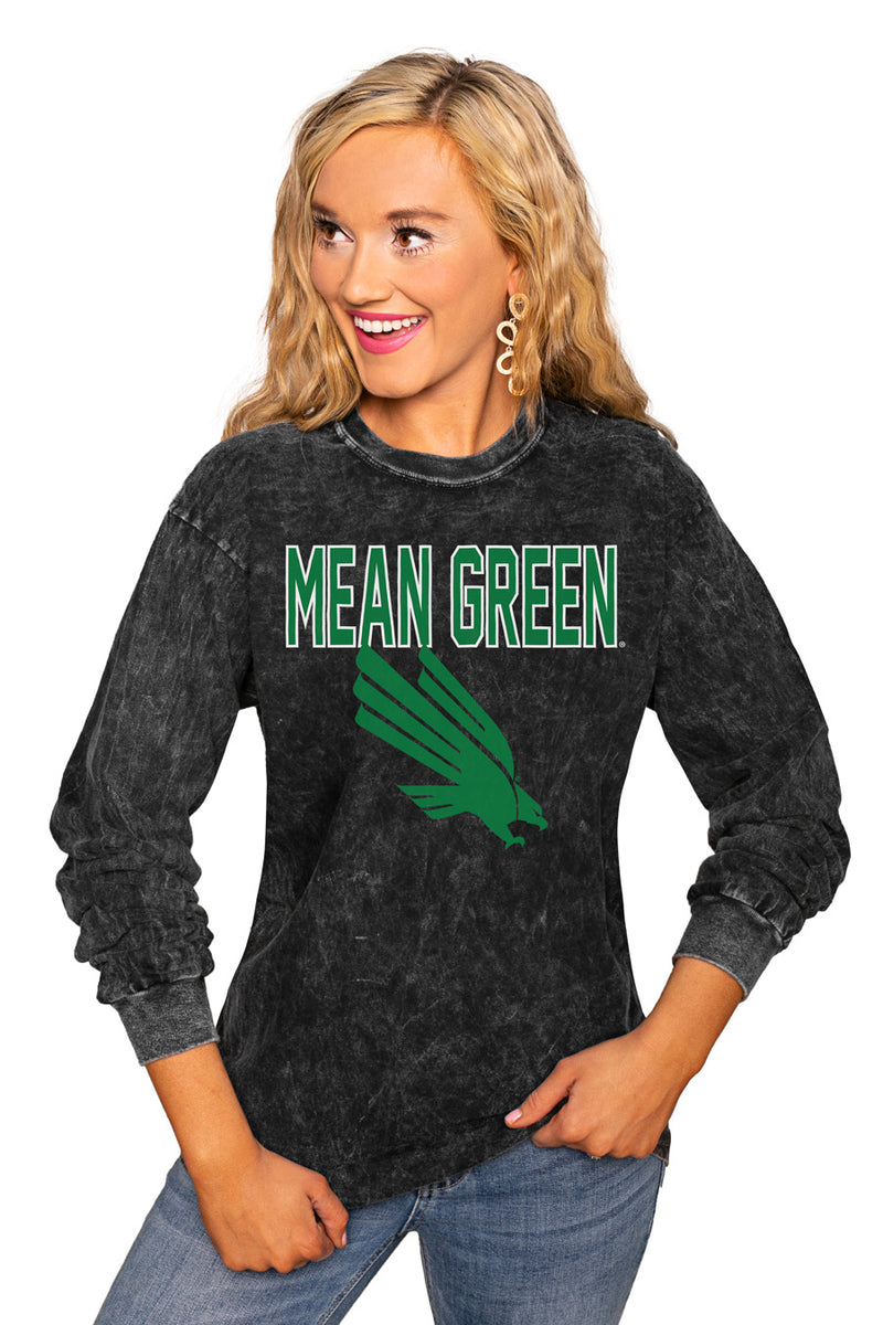 "North Texas Mean Green ""Fourth Down"" Retro Mineral Wash Crew - Gameday Couture"