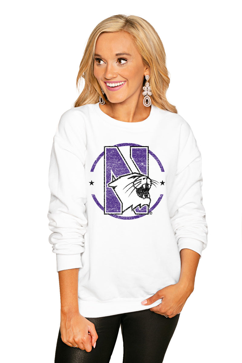 "Northwestern Wildcats ""End Zone"" Perfect Cozy Crew Sweatshirt - Gameday Couture"