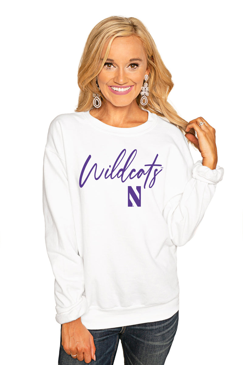 "Northwestern Wildcats ""Win The Day"" Perfect Cozy Crew Sweatshirt - Gameday Couture"
