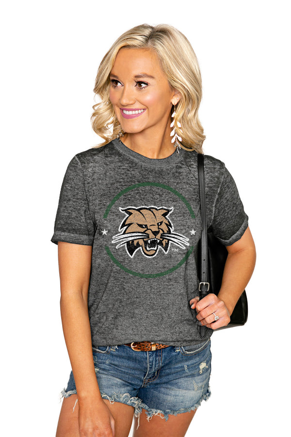 "OHIO BOBCATS ""END ZONE"" ACID WASH BOYFRIEND SHORT SLEEVE TEE - Shop The Soho"