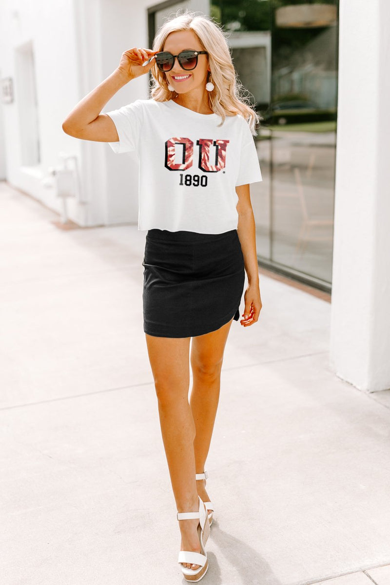 "Oklahoma Sooners ""No Time to Tie Dye"" Vintage-Vibe Crop Top - Gameday Couture"