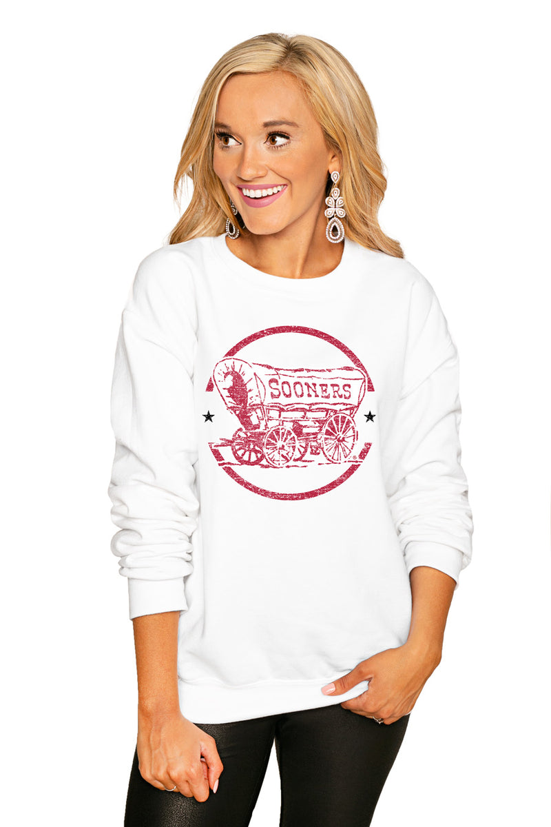 "Oklahoma Sooners ""End Zone"" Perfect Cozy Crew Sweatshirt - Gameday Couture"