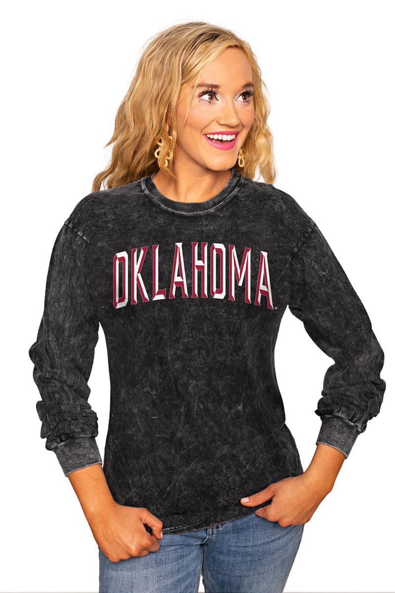 "OKLAHOMA SOONERS ""GOOD GOING"" RETRO MINERAL WASH CREW - Gameday Couture"