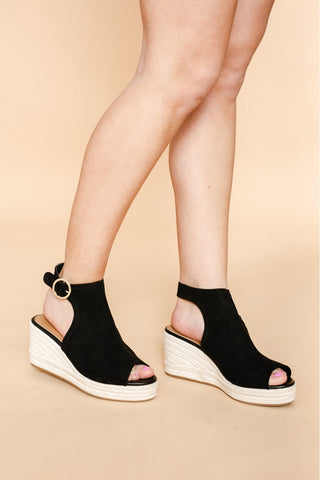 "The ""Open Up"" Ankle Strap Wedge In Black"