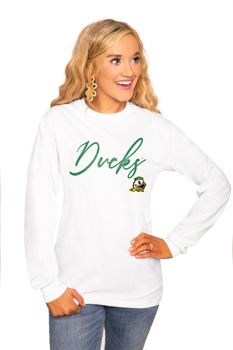 "Oregon Ducks ""Win The Day"" Luxe Boyfriend Crew Tee - Shop The Soho"