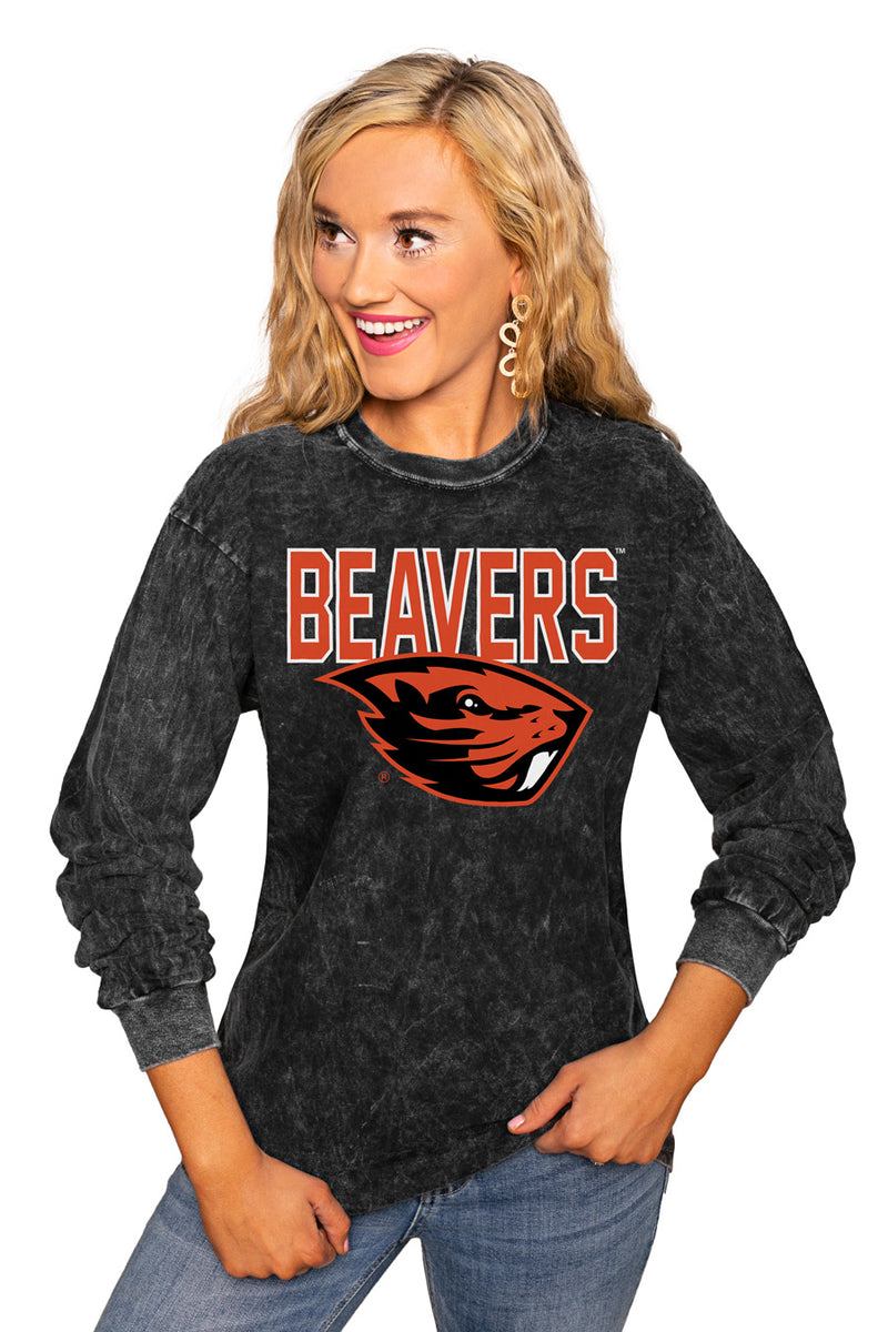 "OREGON STATE BEAVERS ""FOURTH DOWN"" RETRO MINERAL WASH CREW - Gameday Couture"