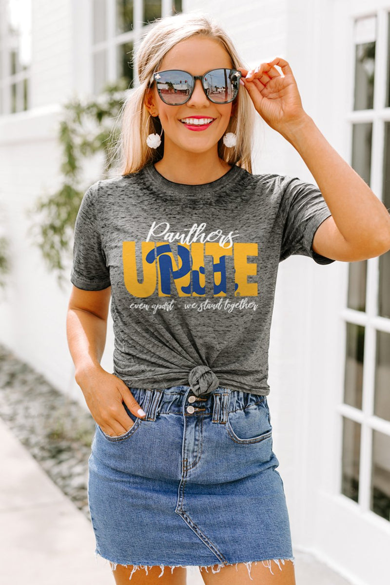"Pittsburgh Panthers ""Rising Together"" Boyfriend Top - Gameday Couture"