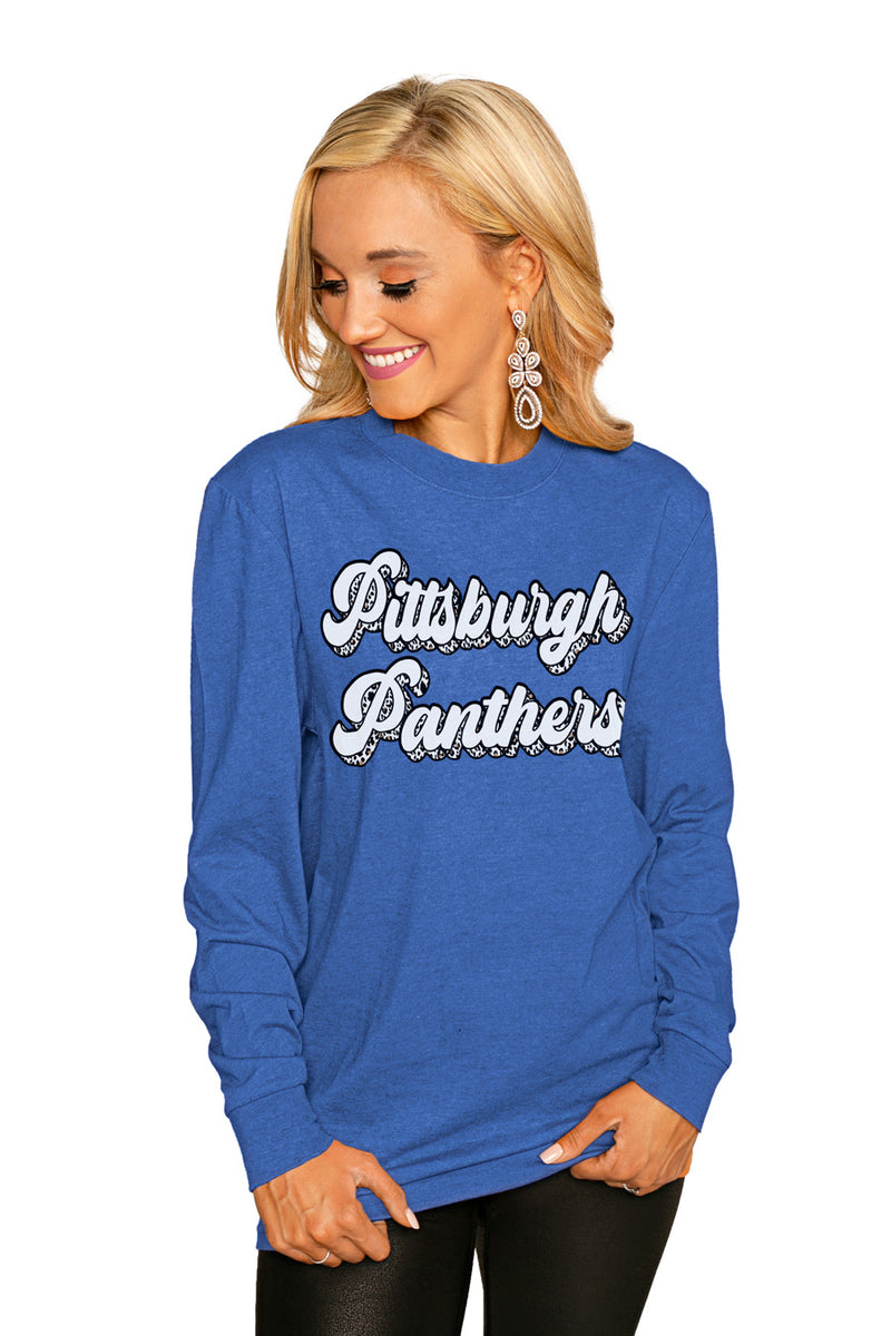 "PITTSBURGH PANTHERS""GAME PLAN"" Luxe Boyfriend Crew Tee - Gameday Couture"