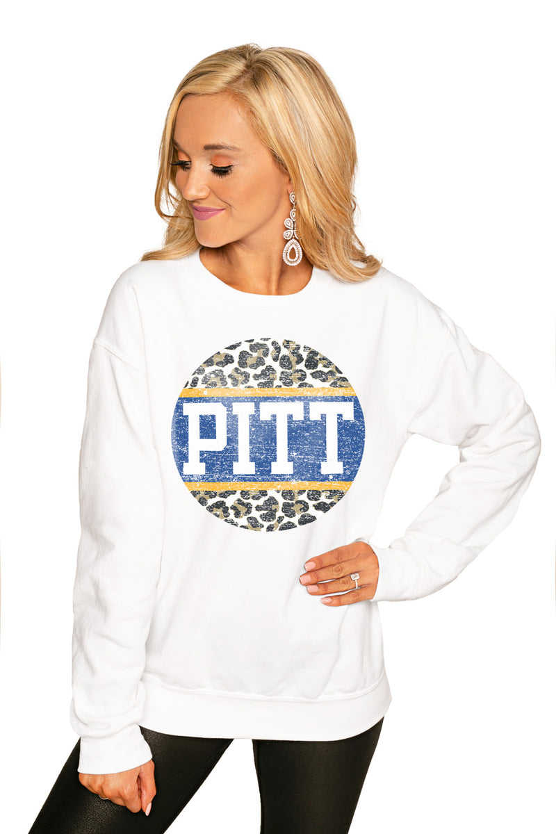 "PITTSBURGH PANTHERS ""SCOOP & SCORE"" PERFECT COZY CREW SWEATSHIRT - Gameday Couture"
