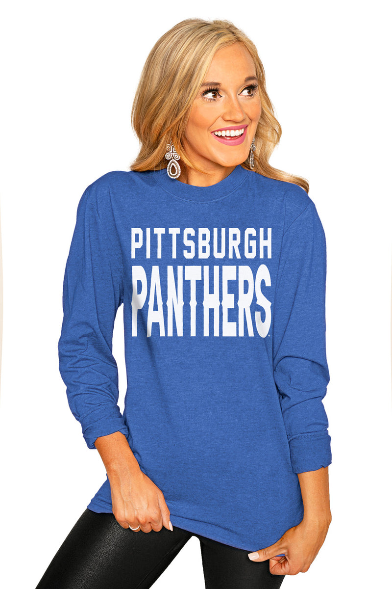 "PITTSBURGH PANTHERS ""GO FOR IT"" Luxe Boyfriend Crew Tee - Gameday Couture"