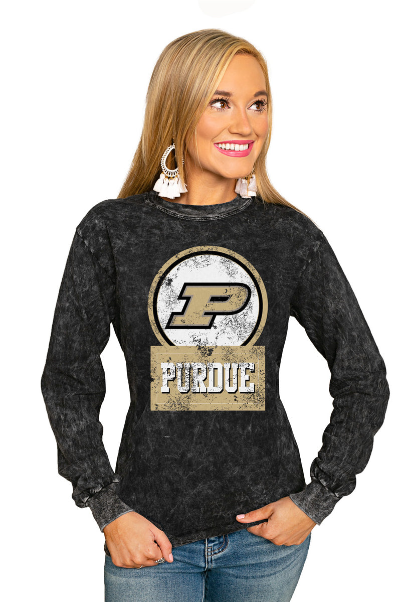 "PURDUE BOILERMAKERS ""GOOD VIBES"" RETRO MINERAL WASH CREW - Gameday Couture"
