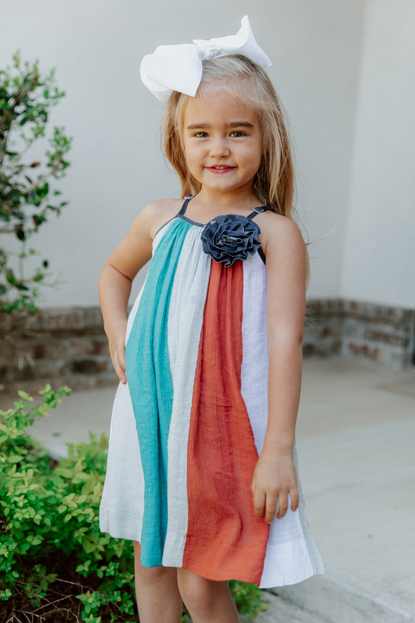 """RAINE"" NAVY STRIPED TODDLER MAXI DRESS"