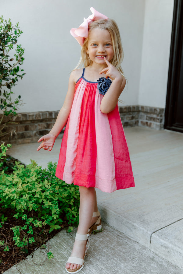 """RAINE"" TODDLER CORAL STRIPED MAXI DRESS"