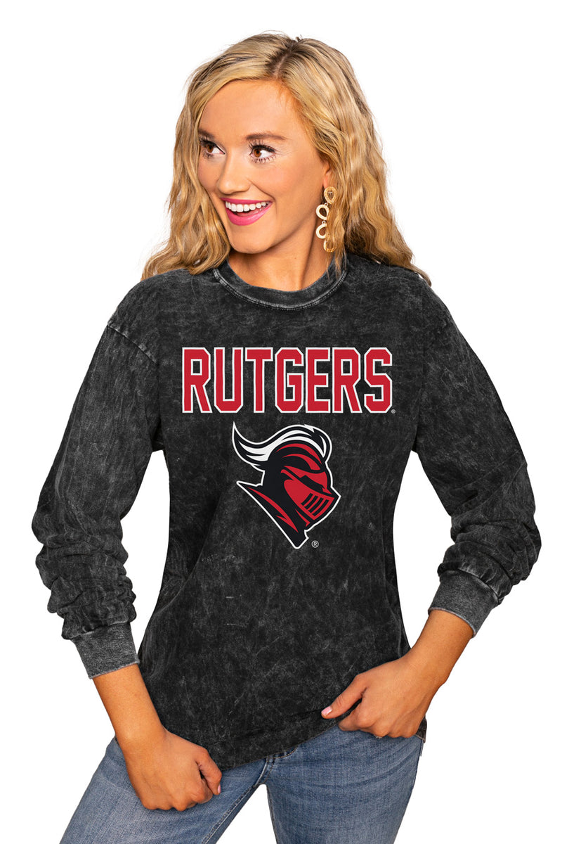 "RUTGERS SCARLET KNIGHTS ""FOURTH DOWN"" RETRO MINERAL WASH CREW - Gameday Couture"