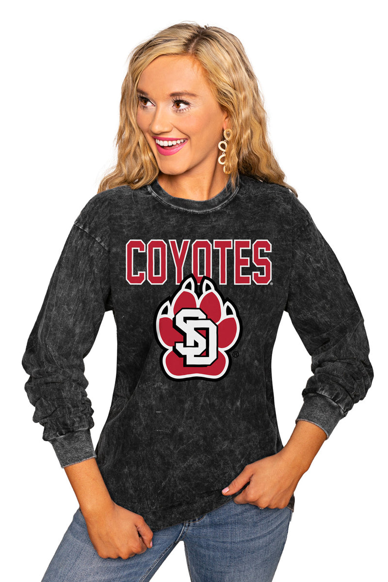 "South Dakota Coyotes ""Fourth Down"" Retro Mineral Wash Crew - Gameday Couture"