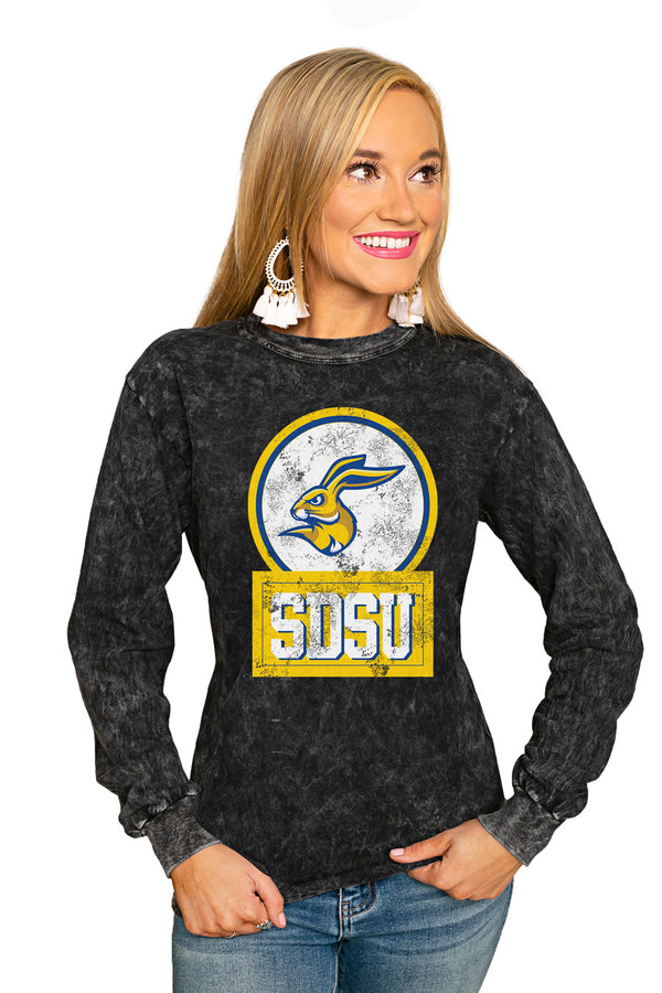 "South Dakota State Jackrabbits ""Good Vibes"" Retro Mineral Wash Crew - Gameday Couture"