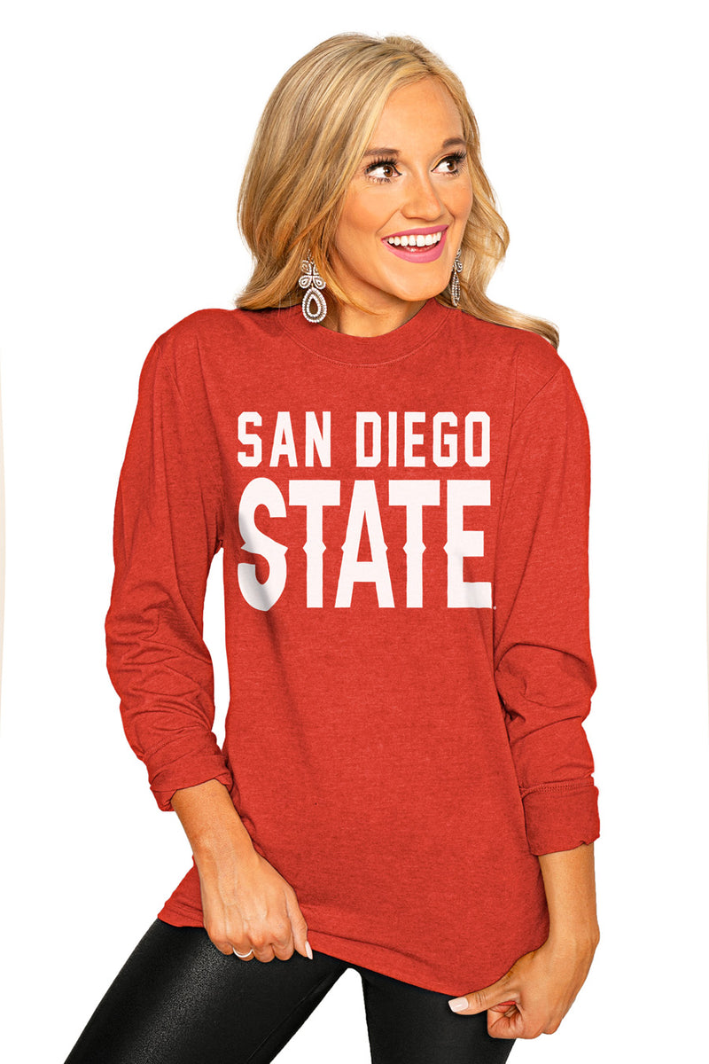 "San Diego State Aztecs ""Go For It"" Luxe Boyfriend Crew Tee - Gameday Couture"