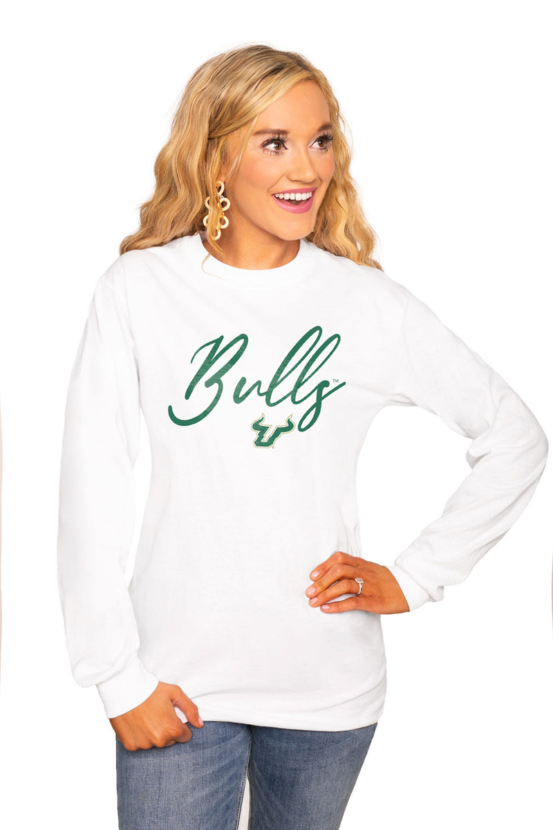 "SOUTH FLORIDA BULLS ""WIN THE DAY"" Luxe Boyfriend Crew Tee - Gameday Couture"