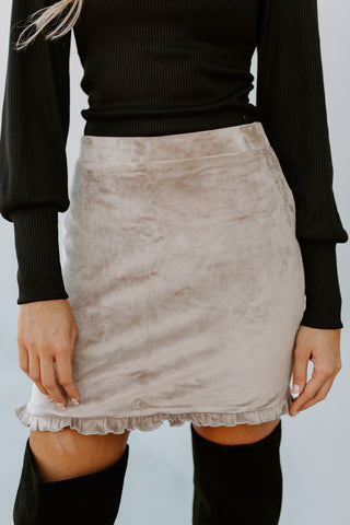 "The ""Sleek and Sweet"" Skirt in Taupe"