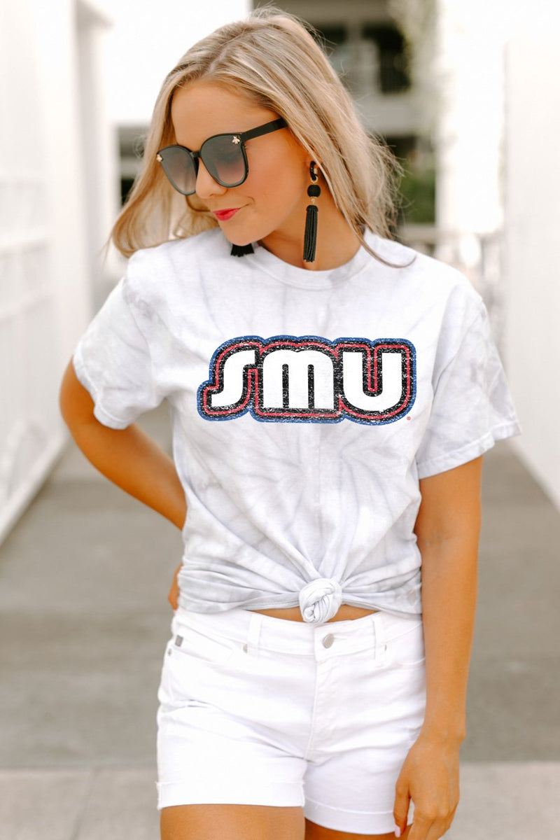 "Southern Methodist Mustangs ""It's a Win"" Watercolor Spin Dye Top - Gameday Couture"