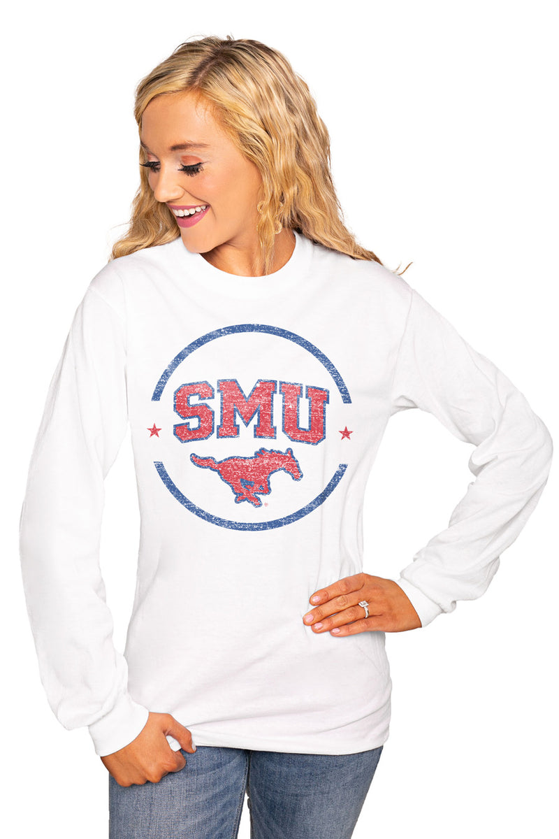 "SMU MUSTANGS ""END ZONE"" Luxe Boyfriend Crew Tee - Gameday Couture"