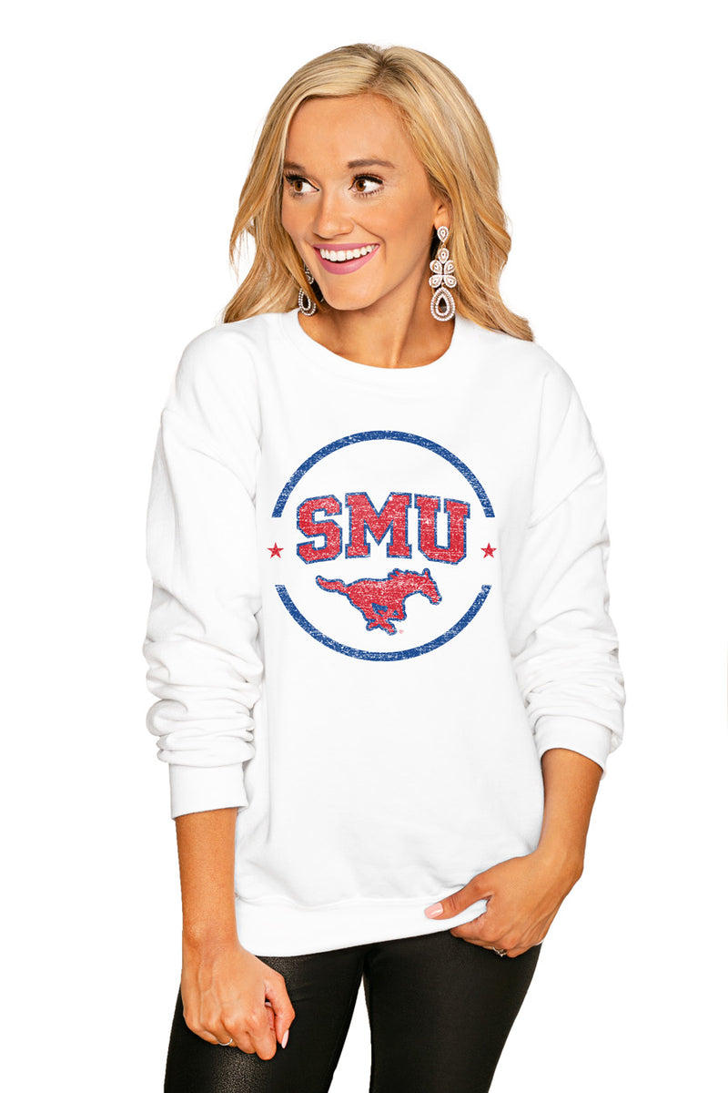 "Smu Mustangs ""End Zone"" Perfect Cozy Crew Sweatshirt - Gameday Couture"