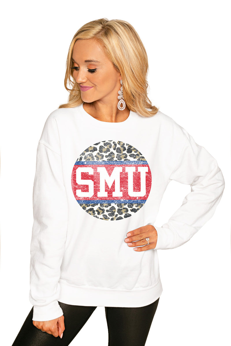 "Smu Mustangs ""Scoop & Score"" Perfect Cozy Crew Sweatshirt - Gameday Couture"
