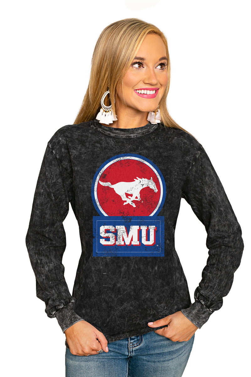 "Smu Mustangs ""Good Vibes"" Retro Mineral Wash Crew - Gameday Couture"