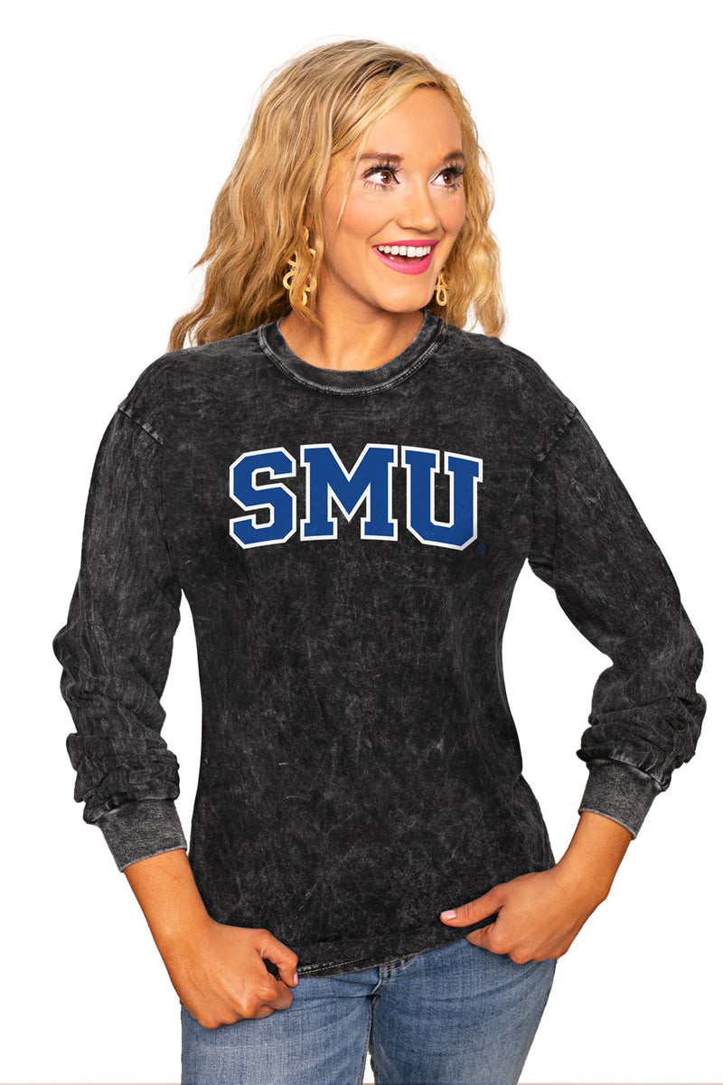 "SMU MUSTANGS ""GOOD GOING"" RETRO MINERAL WASH CREW - Gameday Couture"