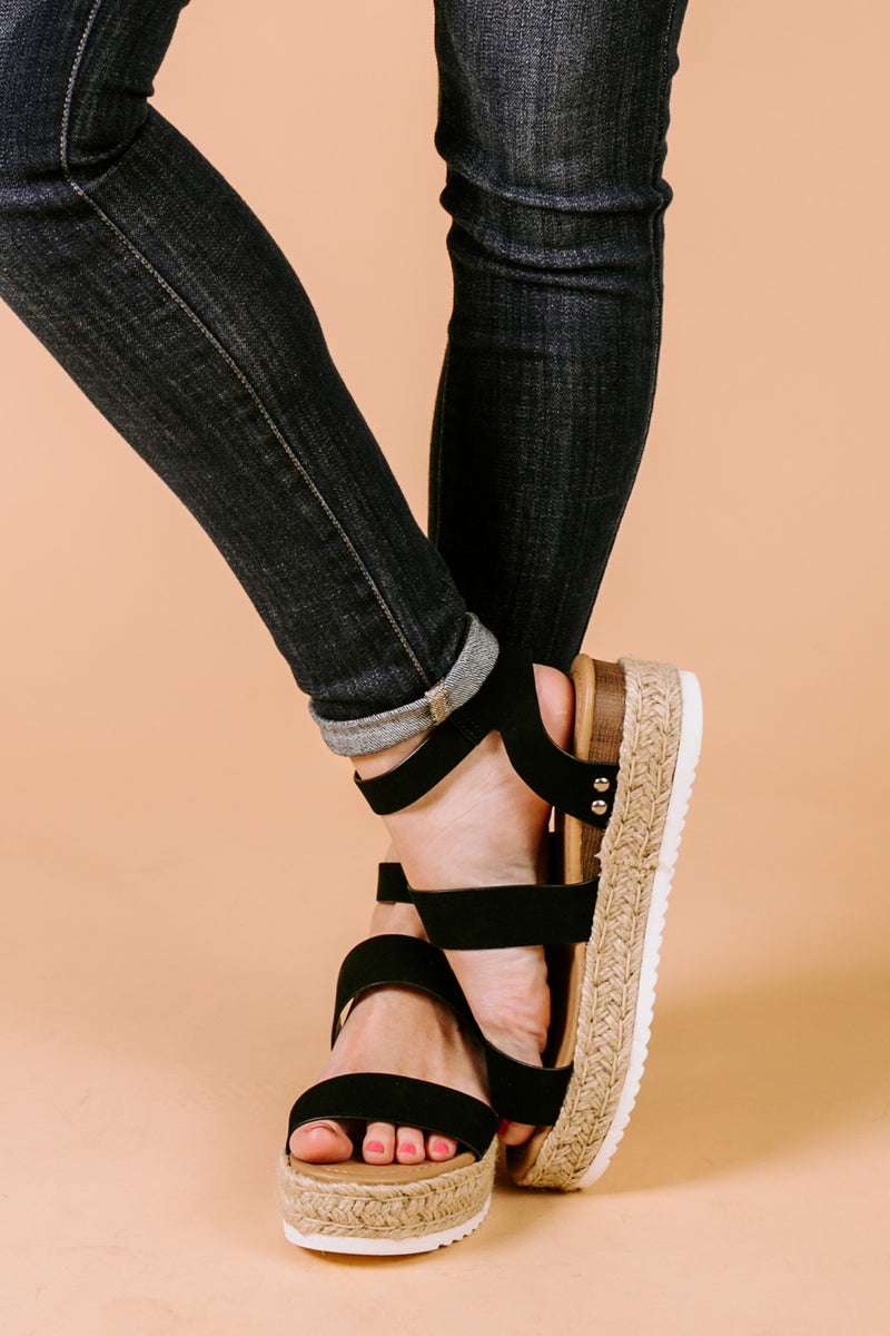 "The ""Sneak A Peek"" Platform Sandals in Black - Gameday Couture"