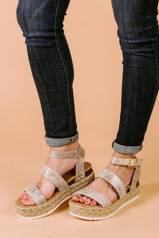 "The ""Sneak A Peek"" Platform Sandals in Snake"