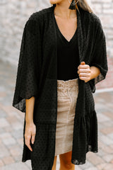 "The ""Stay Breezy"" Cardigan in Black - Gameday Couture"
