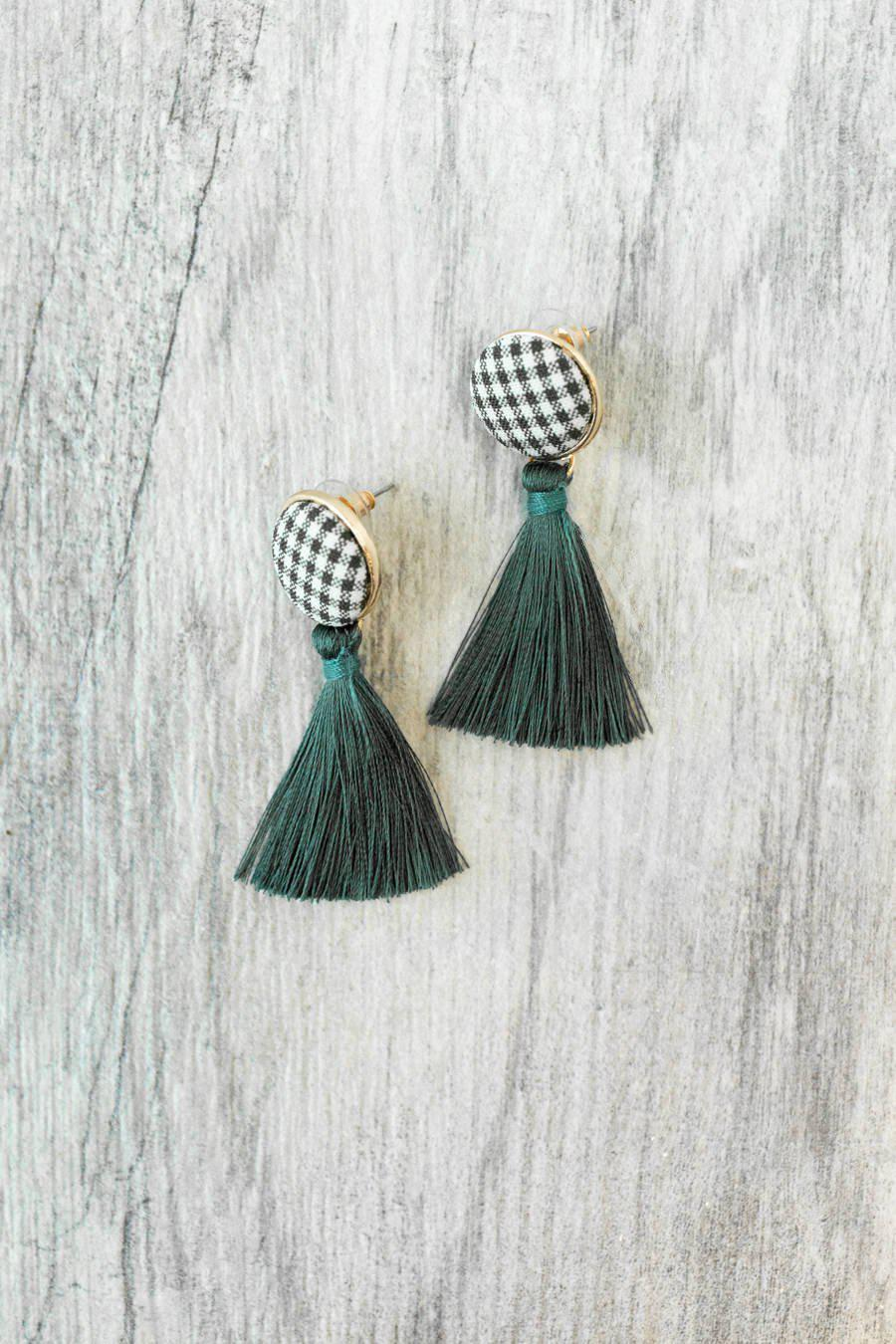 The Southern Prep Earrings in Dark Green