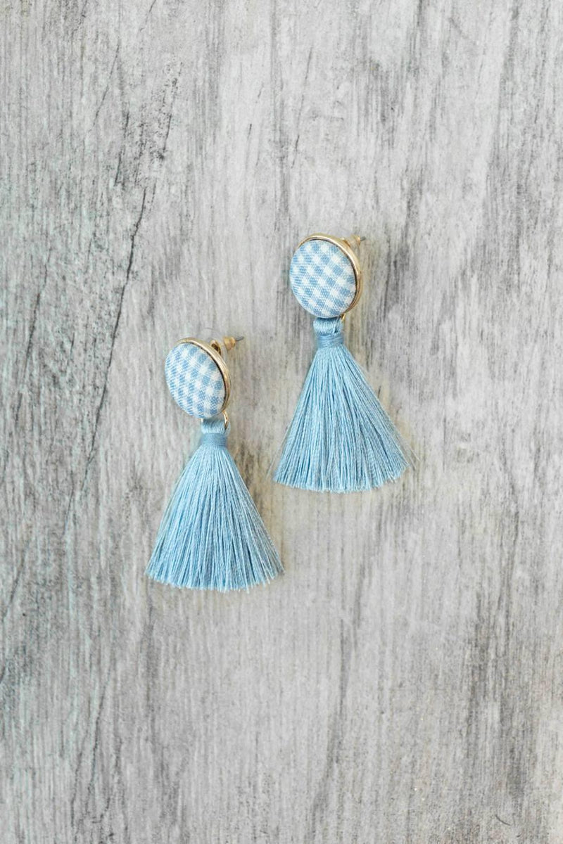 The Southern Prep Earrings in Light Blue - FINAL SALE - Gameday Couture