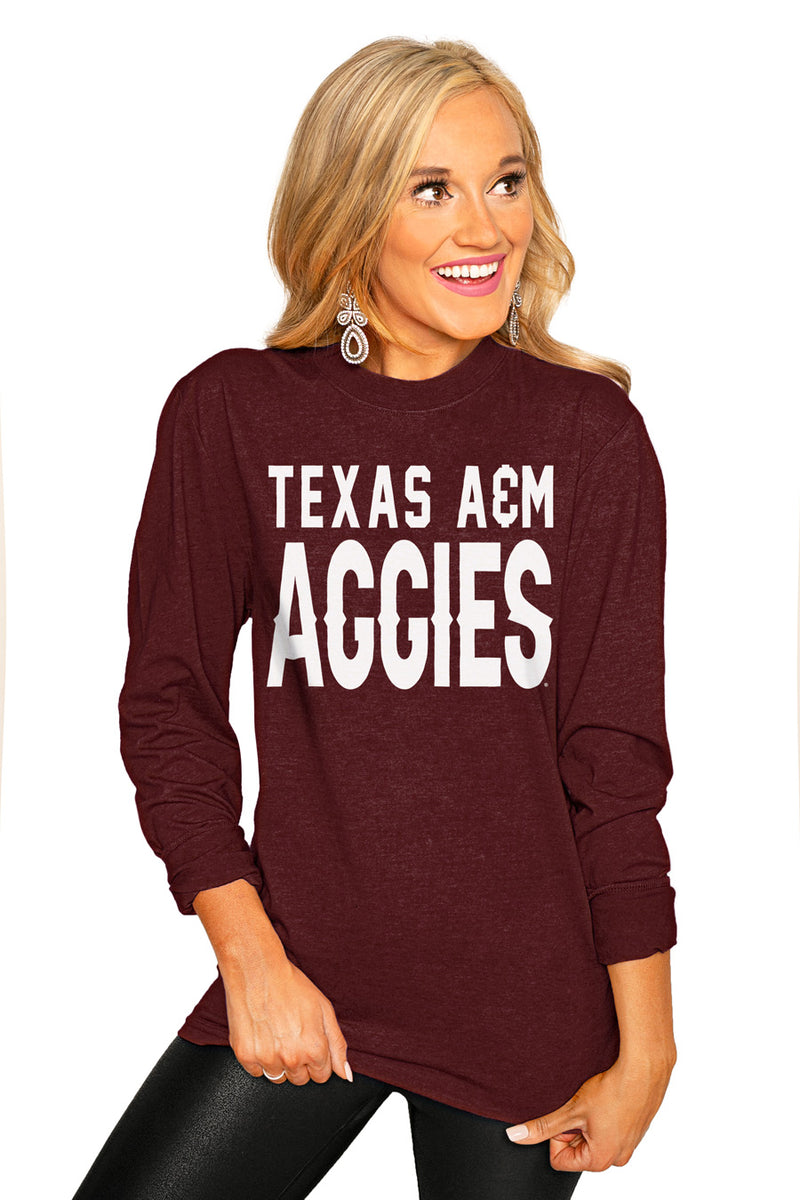 "Texas A&M Aggies ""Go For It"" Luxe Boyfriend Crew Tee - Gameday Couture"