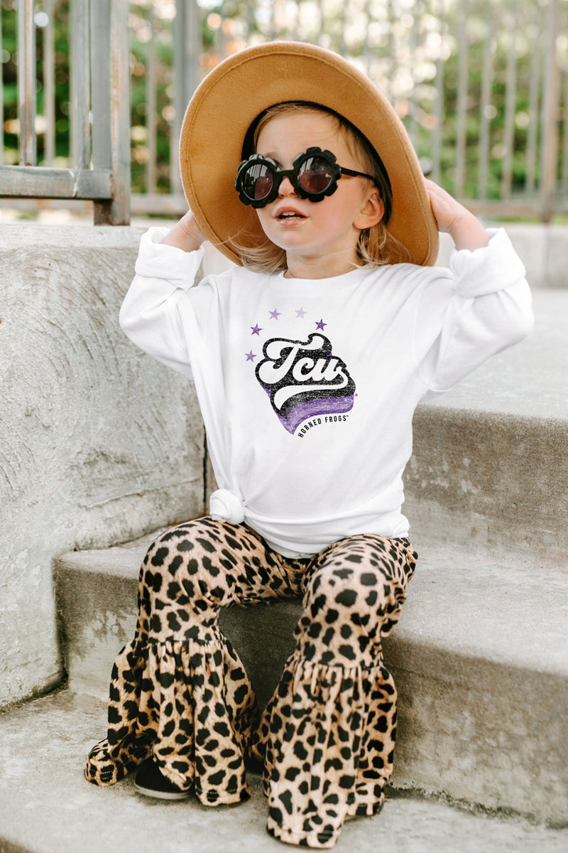 "TCU Horned Frogs ""Vivacious Varsity Star"" Toddler Long-Sleeved Tee - Gameday Couture"