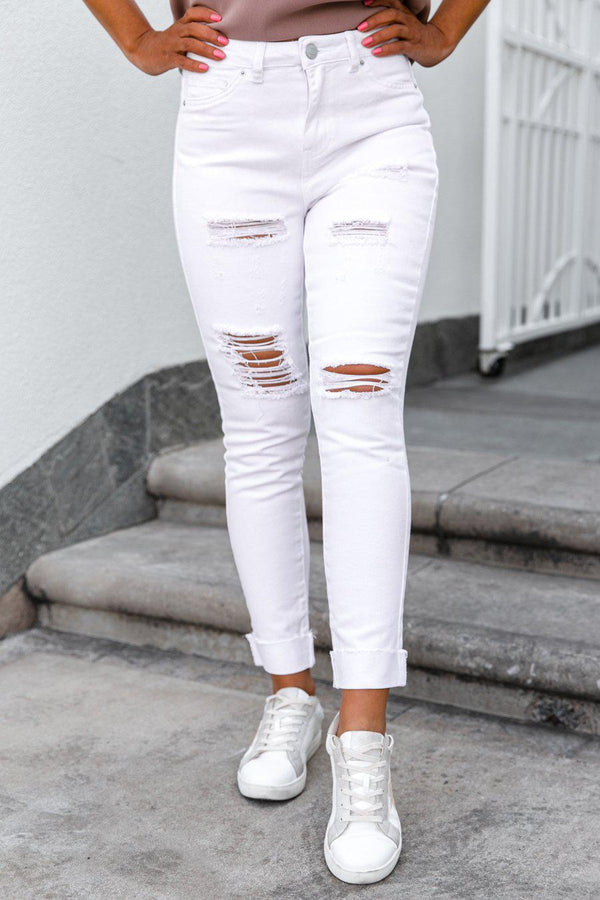"The ""Teagan"" White Distressed Jeans - Shop The Soho"
