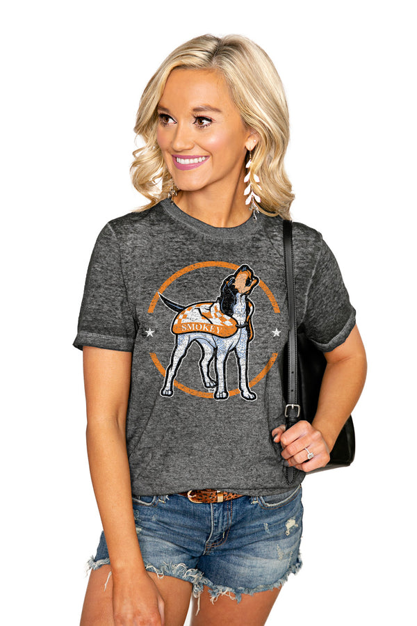 "TENNESSEE VOLUNTEERS ""END ZONE"" ACID WASH BOYFRIEND SHORT SLEEVE TEE - Shop The Soho"
