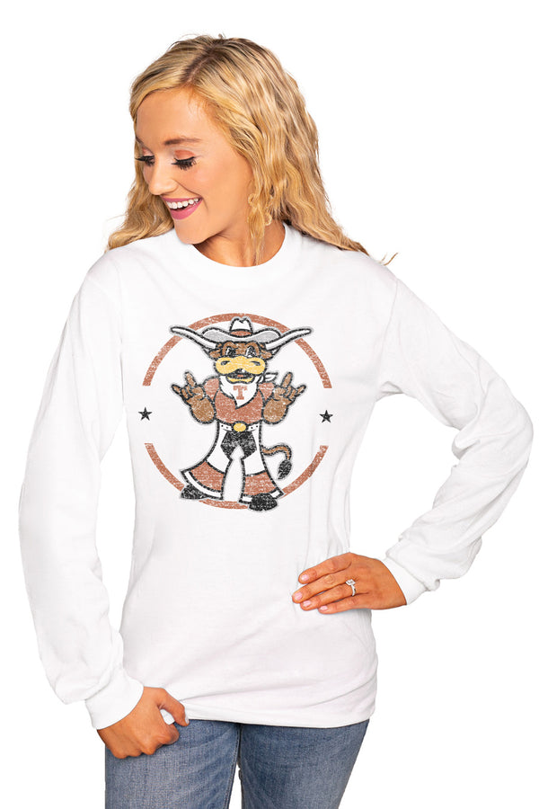 "Texas Longhorns ""End Zone"" Luxe Boyfriend Crew Tee - Shop The Soho"