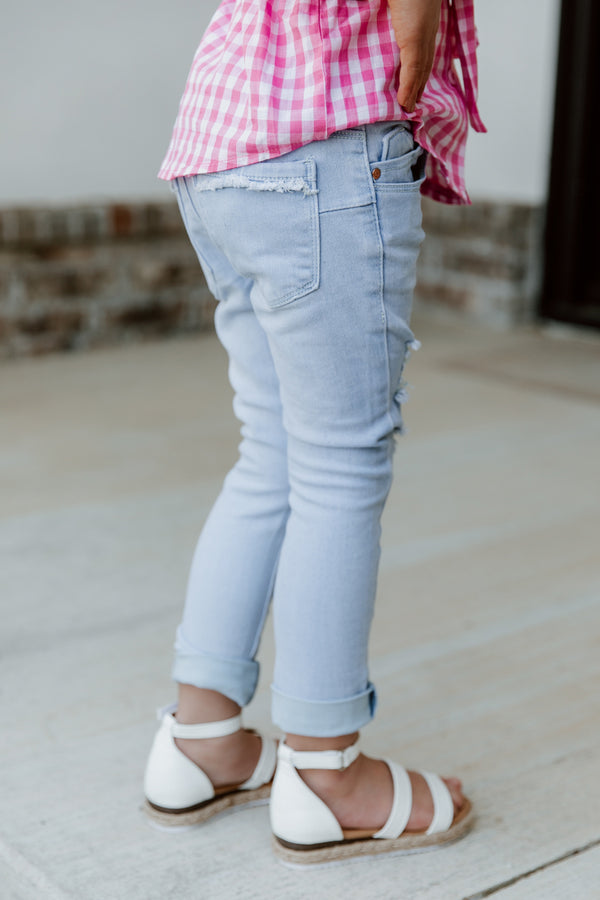 "THE ""AYLA"" KIDS LIGHT WASH DISTRESSED JEANS"