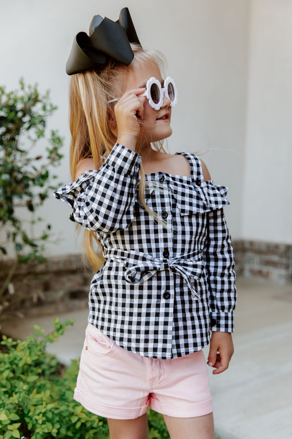"THE ""GIVE ME CHECKS"" OFF THE SHOULDER GIRLS BLOUSE"