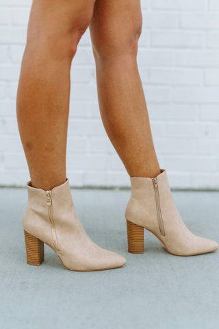 "The ""Travel Plans"" Booties in Nude"