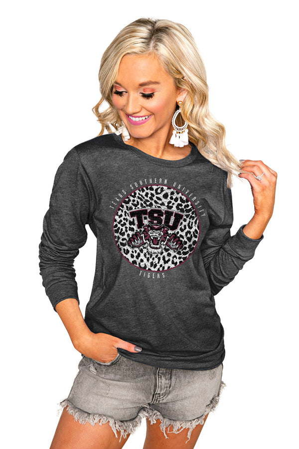 "TEXAS SOUTHERN UNIVERSITY TIGERS ""CALL THE SHOTS"" LUXE BOYFRIEND LONG SLEEVE TEE"