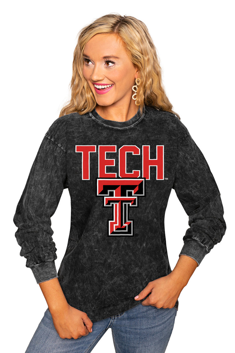 "TEXAS TECH RED RAIDERS ""FOURTH DOWN"" RETRO MINERAL WASH CREW - Gameday Couture"