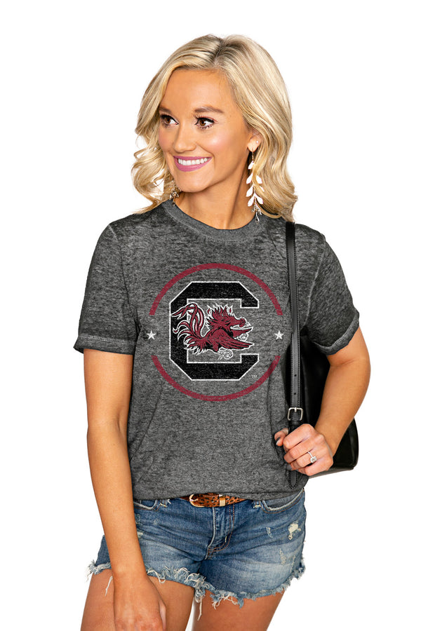 "SOUTH CAROLINA GAMECOCKS ""END ZONE"" ACID WASH BOYFRIEND SHORT SLEEVE TEE - Shop The Soho"