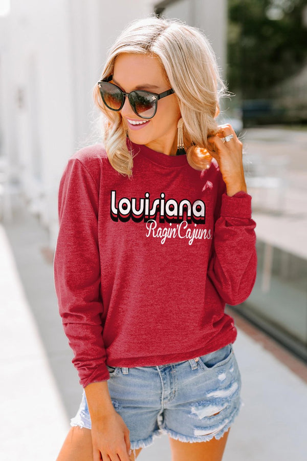"Louisiana Ragin Cajuns ""Throwback Varsity Vibes"" Crewneck Long-Sleeved Top - Shop The Soho"